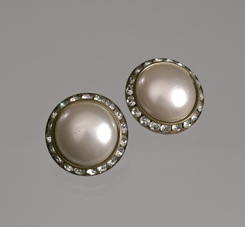 Image for Circular pearl and rhinestone earrings from Mae's Millinery Shop