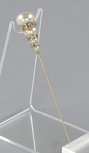 Image for Metal hatpin with stacked rhinestones and pearls from Mae's Millinery Shop