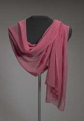 Wide pink scarf with metallic border from Mae's Millinery Shop