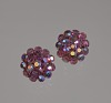 Thumbnail for Pair of round pink rhinestone earrings from Mae's Millinery Shop