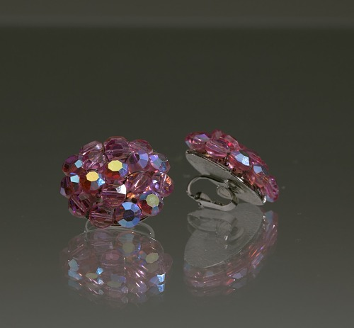 Image for Pair of round pink rhinestone earrings from Mae's Millinery Shop