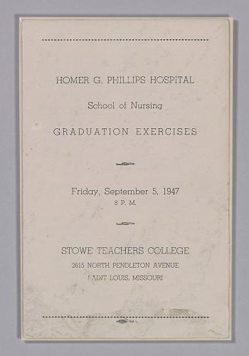Image for Graduation program for the Homer G. Phillips Hospital School of Nursing