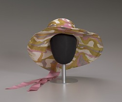 Wide brimmed slouch hat with pink ribbon from Mae's Millinery Shop