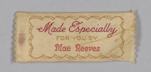Image for Clothing label for Mae Reeves from Mae's Millinery Shop