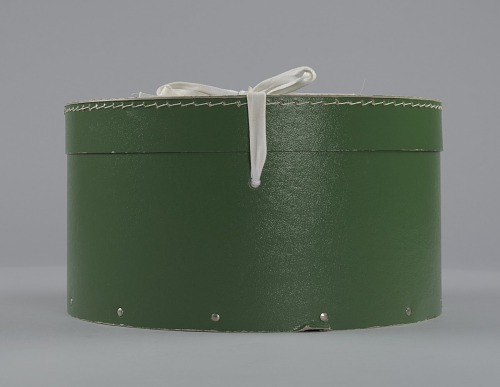 Image for Green circular hatbox with lid from Mae's Millinery Shop