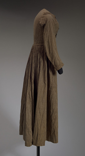 Image for Brown and cream striped day dress from the Civil War era