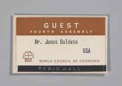 World Council of Churches guest badge for James Baldwin