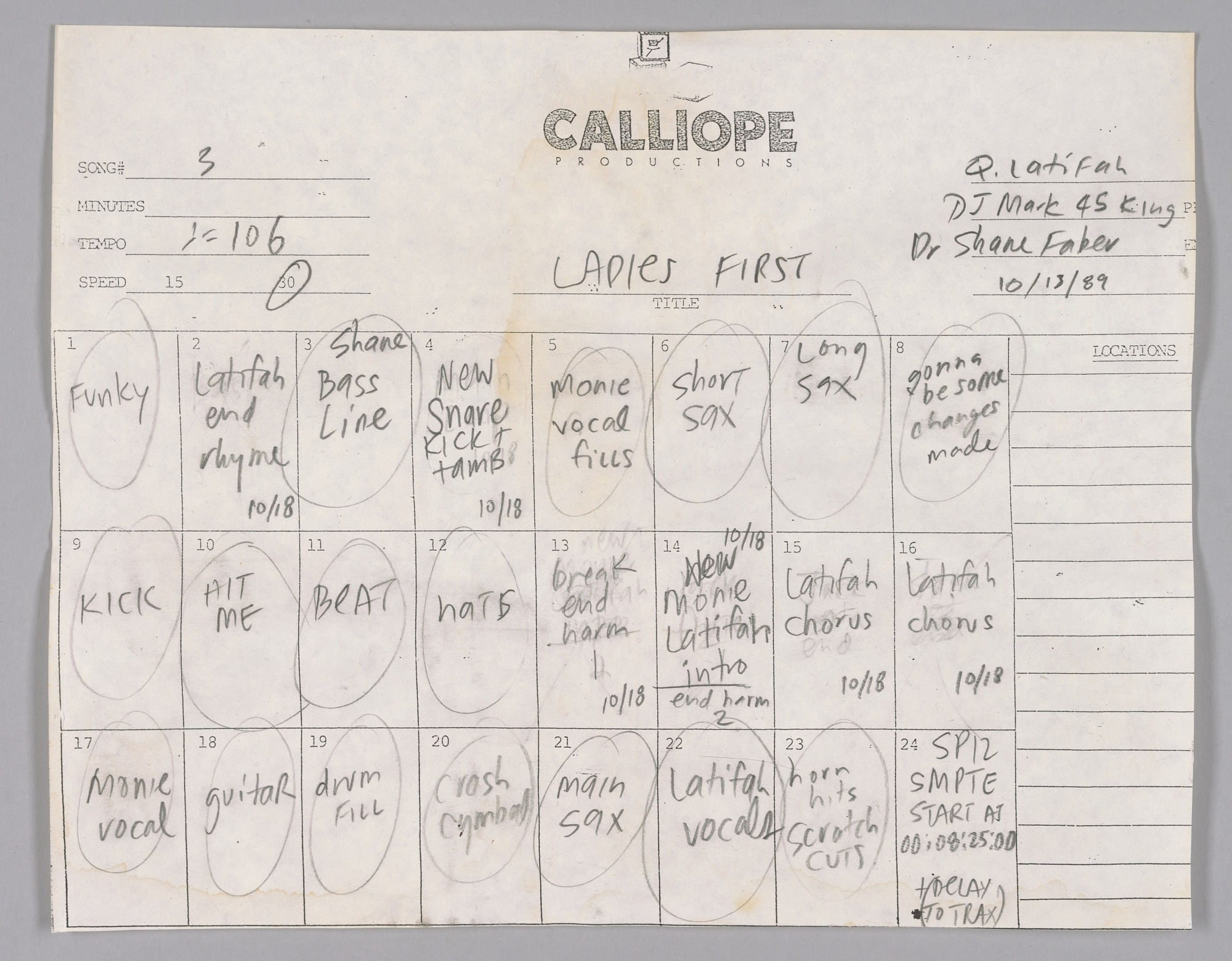 """Image 1 for Track sheet used during the recording of """"Ladies First"""" by Queen Latifah"""