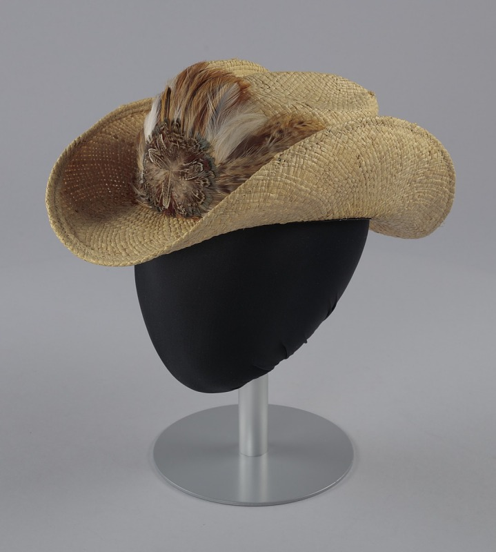 Image 1 for Straw cowboy hat with feathered hat band worn by Arthur Lee