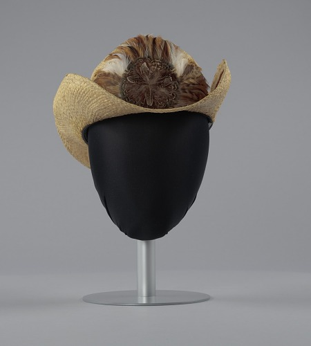 Image for Straw cowboy hat with feathered hat band worn by Arthur Lee