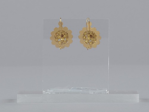 Image for Pair of tété négresse style gold earrings with yellow stones