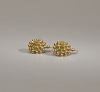 Thumbnail for Pair of tété négresse style gold earrings with yellow stones