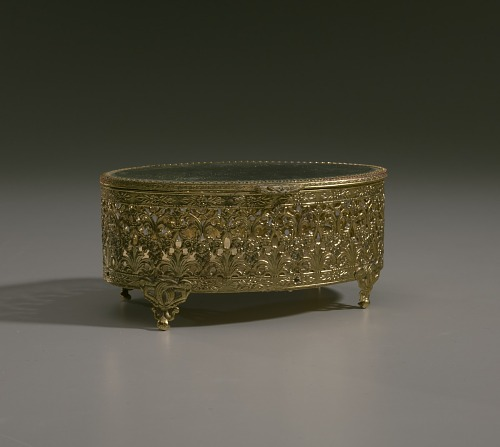 Image for Gold metal scrollwork jewelry box from Mae's Millinery Shop
