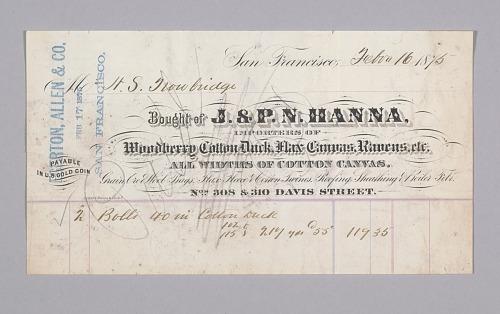 Image for Certificate of Sale between H.S. Trowbridge and J.& P. N. Hanna