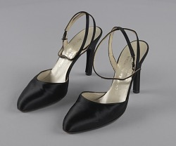 Pair of black stiletto heel shoes by Charles Jourdan from Mae's Millinery Shop