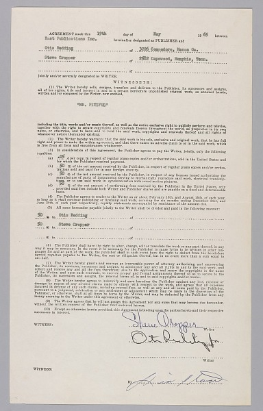 """Image 1 for Contract signed by Otis Redding for """"Mr. Pitiful"""""""