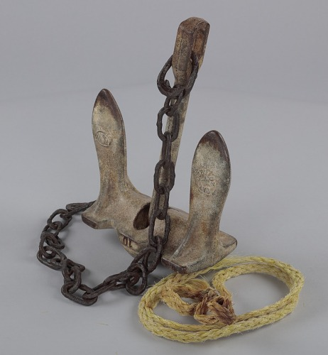 Image for Ten pound anchor with chain and rope used by oysterman Ira Wright