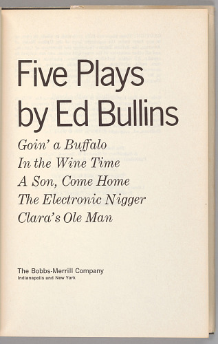 Image for Five Plays by Ed Bullins