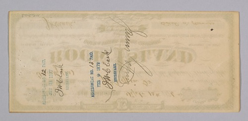 Image for Stock certificate for 20 shares in Rock Island Gold & Silver Mining Co.