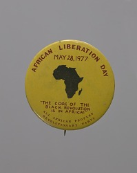 Pinback button promoting African Liberation Day