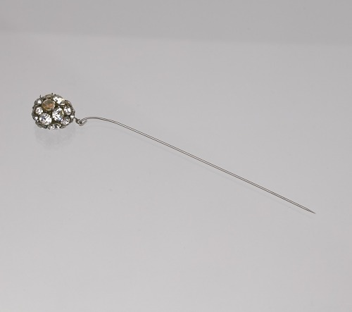 Image for Metal hatpin with rhinestone bauble from Mae's Millinery Shop
