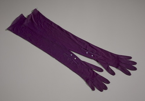 Image for Pair of arm length purple gloves from Mae's Millinery Shop