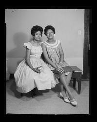 Studio Portrait of Two Women Sitting