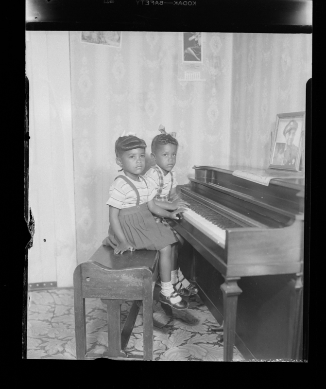 Image for Indoor Portrait of Two Children Sitting at a Piano