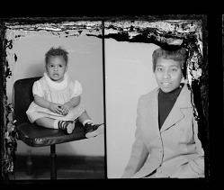 Studio Portrait of a Toddler Girl, Studio Portrait of a Woman, Diptych