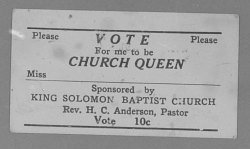 Copy Work of a Voting Stub, Vote for Me to be Church Queen