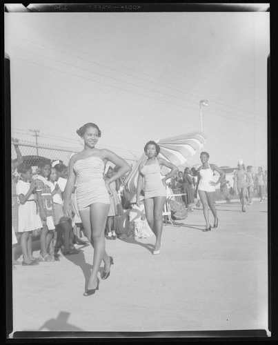 Image for Outdoor Photo of Three Woman Walking Wearing Bathing Suits