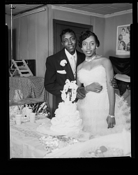 Wedding Portrait of the Bride and Groom with the Wedding Cake
