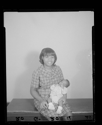 Studio Portrait of a Mother Sitting Holding her Infant