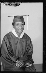 Studio Portrait of a Girl Sitting Wearing a Cap and Gown Diptych