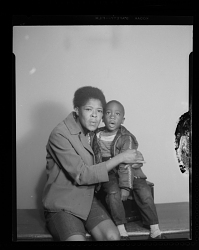 Studio Portrait of a Mother and Toddler Boy Sitting