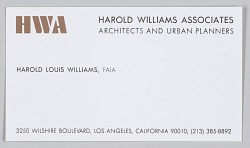 Business card for Harold Williams Associates