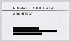 Business card for architect Norma Merrick Sklarek, F.A.I.A.