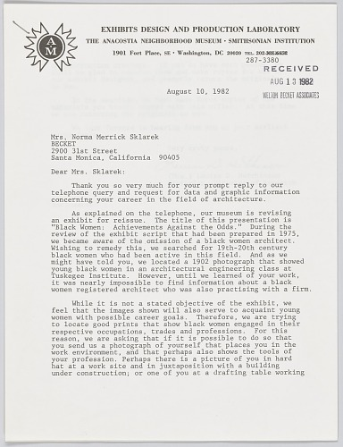 Image for Letter from Anacostia Museum to Norma Merrick Sklarek