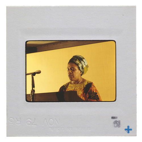 Image for Photographic slide of Audre Lorde speaking at the Third World Gay Conference