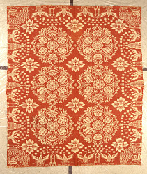 """""""Agriculture and Industry"""" coverlet, Figured and Fancy; double-cloth; 1836; New York"""