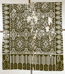 """""""Big Lion"""" group; coverlet; Figured and Fancy; double-cloth; c.1835-1845; New York"""