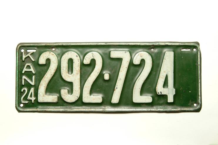 Kansas License Plate, 1924