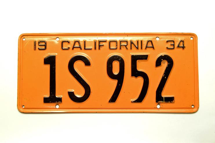 California License Plate, 1934