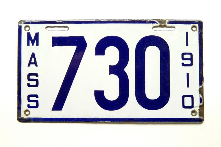 Massachusetts License Plate, 1910