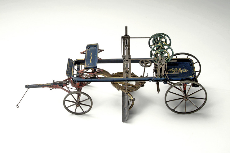 Patent model, road scraper, Western Wheeled Scraper Co., 1892