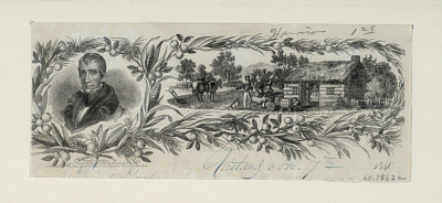 Untitled (Portrait of William Henry Harrison and a log cabin)