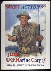 """""""Want Action? Join U.S. Marine Corps!"""" Poster"""