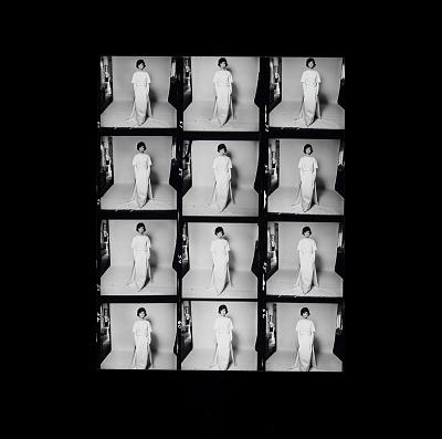 Enlarged Contact Sheet of Jacqueline Bouvier Kennedy wearing Oleg Cassini dress