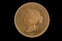Ten Dollars Coin Pattern, United States, 1874