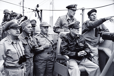 General Douglas MacArthur with Army, Marine, Navy, and Air Force commanders, Inchon, Korea